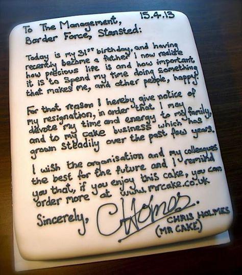 Resignation Letter - Cake